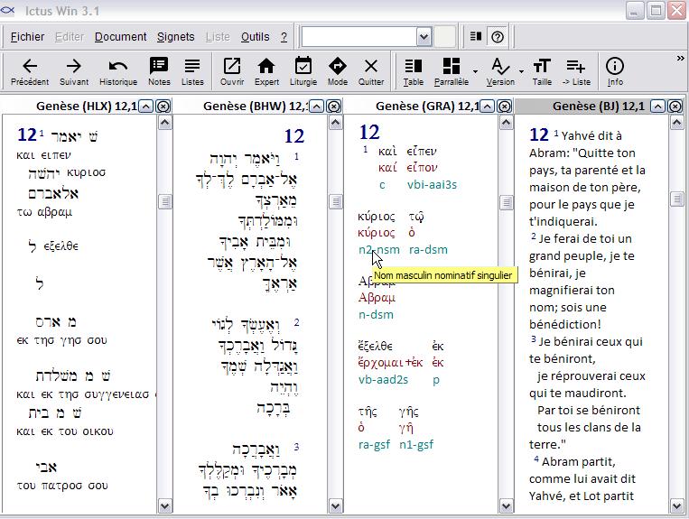 Synopse Ancien Testament